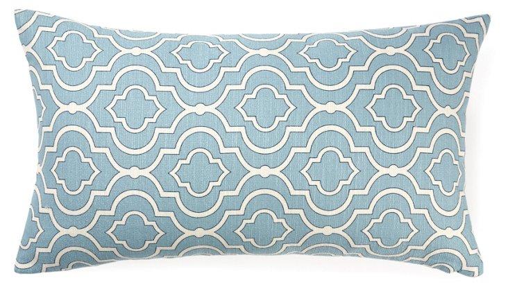 Lattice 14x24 Cotton Pillow, Blue