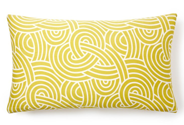 Knotted 14x24 Cotton Pillow, Yellow
