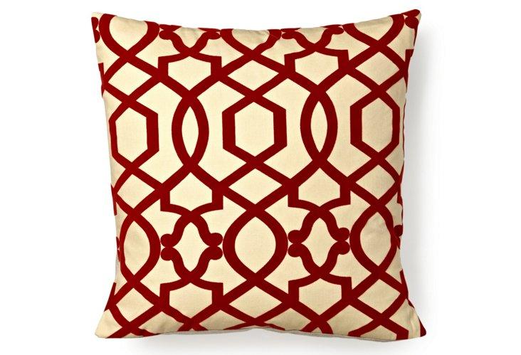 Lattice 18x18 Pillow, Red