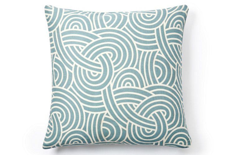 Knotted 18x18 Cotton Pillow, Blue