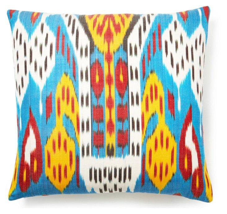 Ikat 20x20 Silk-Blend Pillow, Multi