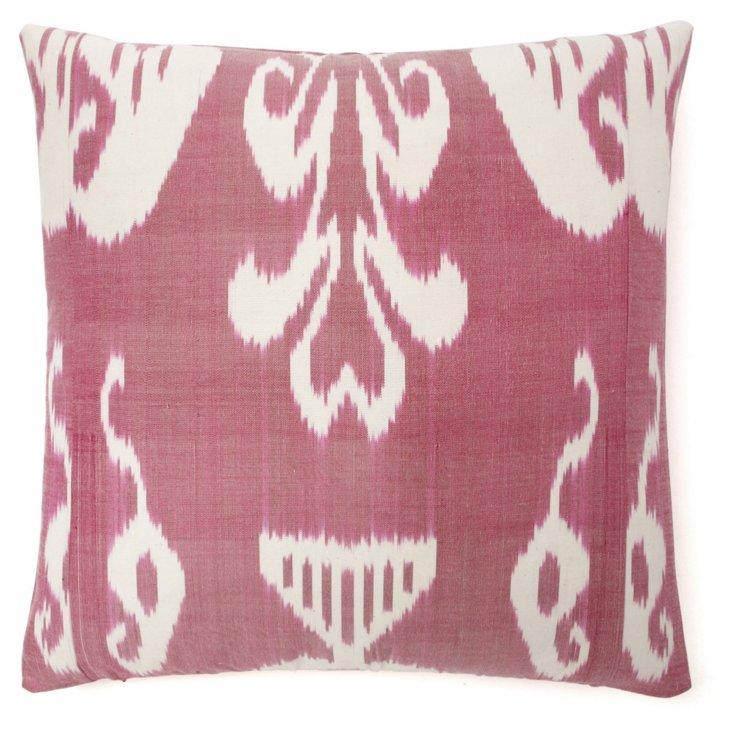 Ikat 20x20 Silk-Blend Pillow, Berry