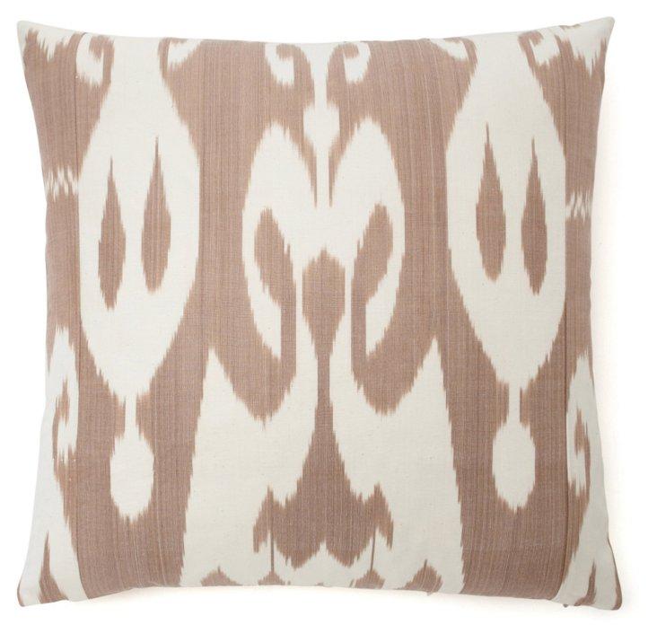 Ikat 20x20 Silk-Blend Pillow, Taupe
