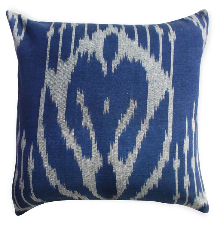 Ikat 18x18 Cotton Pillow, Blue