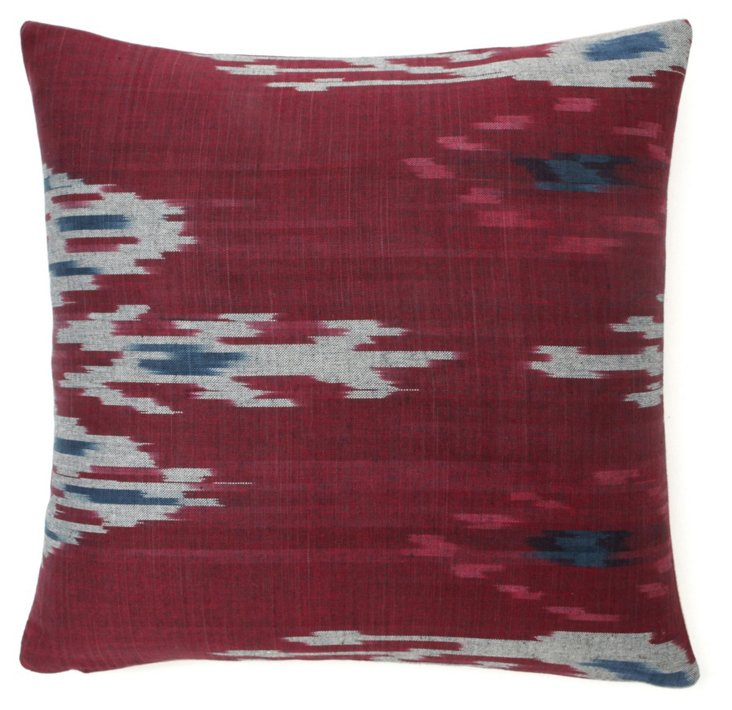Warmth 18x18 Cotton Pillow, Burgundy