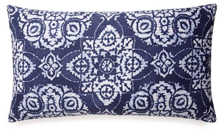 Tribal Medallion 14x24 Pillow, Blue