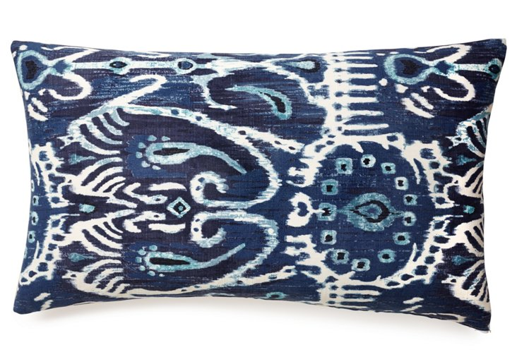 Tribal 14x24 Cotton Pillow, Blue