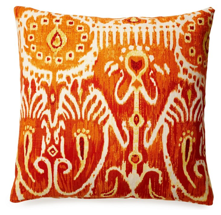 Tribal 18x18 Cotton Pillow, Orange