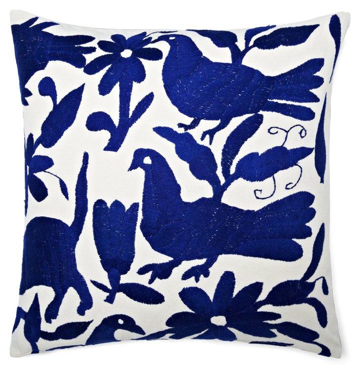 Wildlife 18x18 Cotton Pillow, Blue