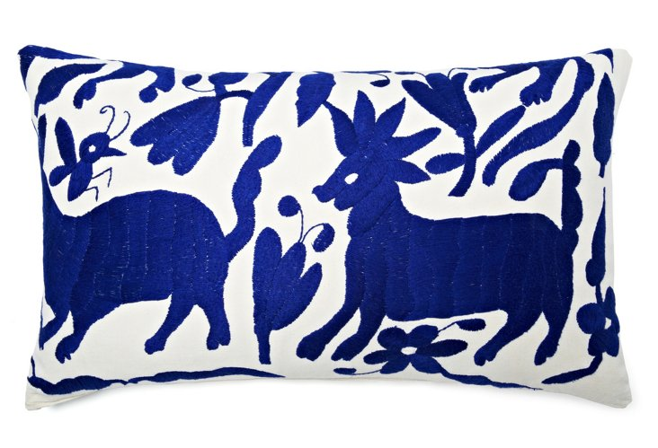 Wildlife 14x24 Embroidered Pillow, Blue