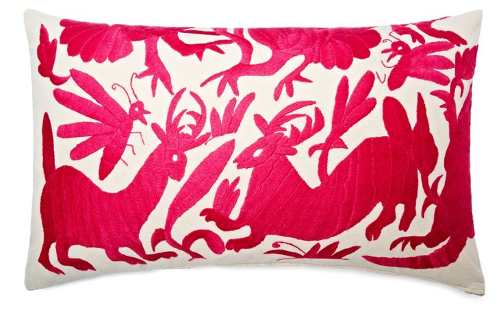 Wildlife 14x24 Embroidered Pillow, Pink