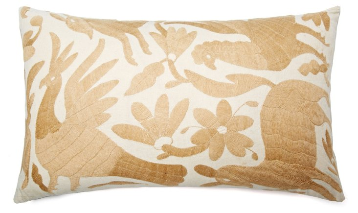 Wildlife 14x24 Embroidered Pillow, Taupe