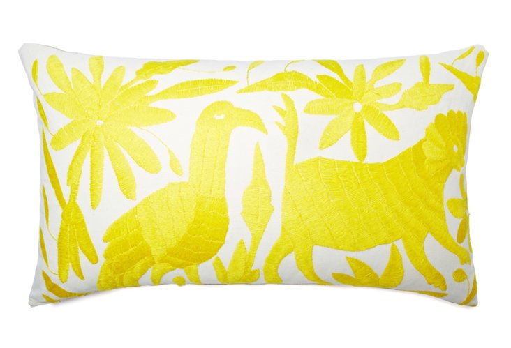 Wildlife 14x24 Cotton Pillow, Yellow