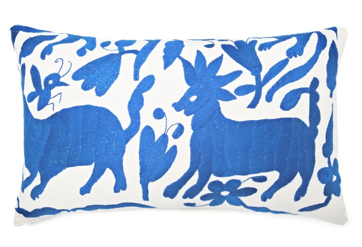 Wild 14x24 Embroidered Pillow, Lt Blue