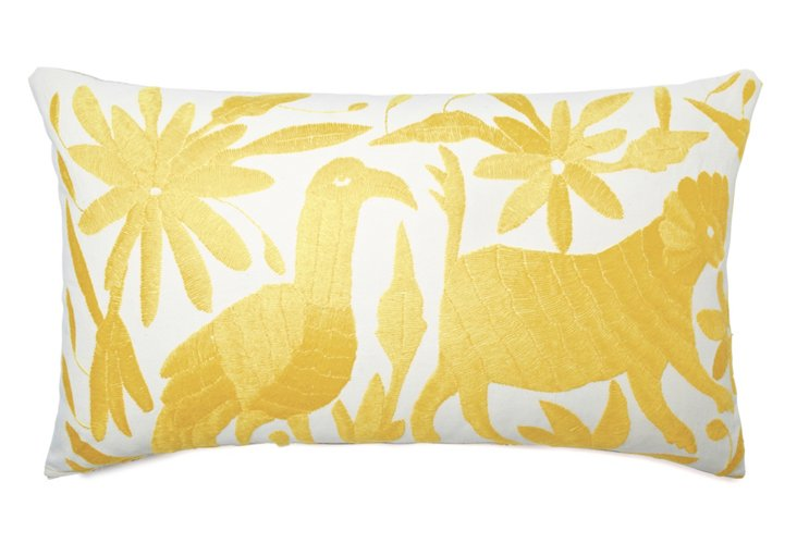Wildlife 14x24 Embroidered Pillow, Gold