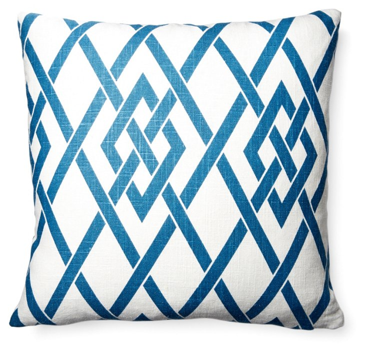 Today 18x18 Cotton-Blend Pillow, Blue