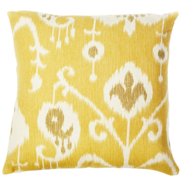 Ikat 18x18 Cotton Pillow, Yellow