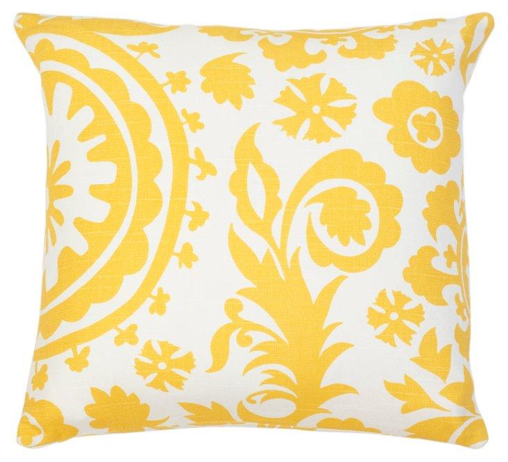 Suzani 18x18 Cotton Pillow, Yellow