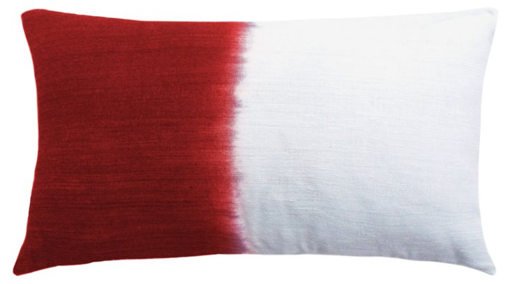 Dip Dye 14x24 Silk Pillow, Red