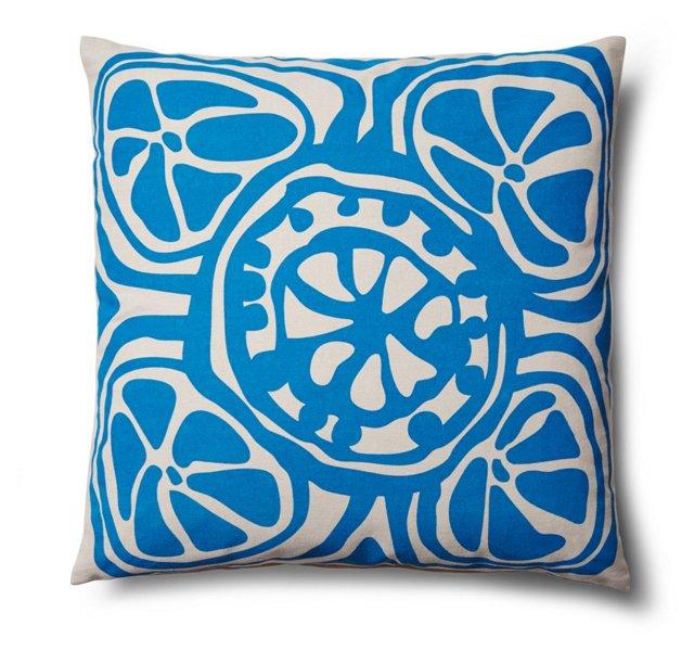 Slice 20x20 Cotton Pillow, Blue