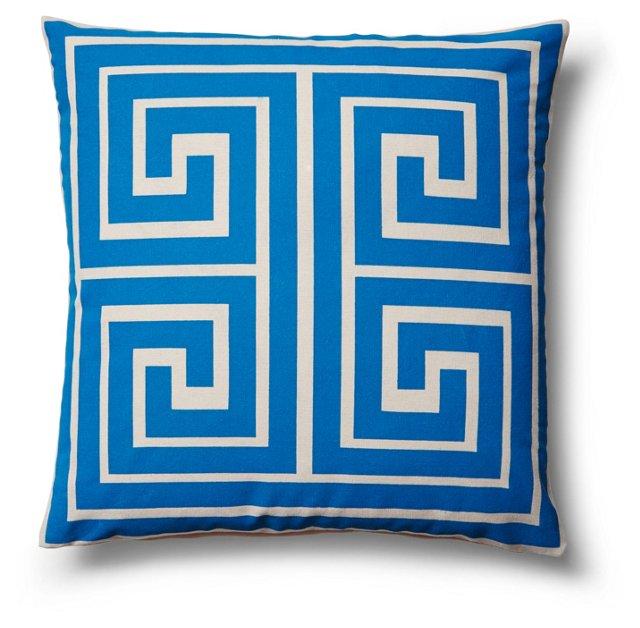 Maze 18x18 Cotton Pillow, Blue