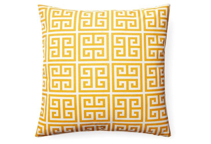 Greek Key 18x18 Outdoor Pillow, Yellow