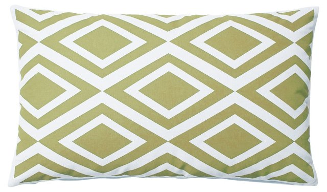 Diamond 14x24 Outdoor Pillow, Green
