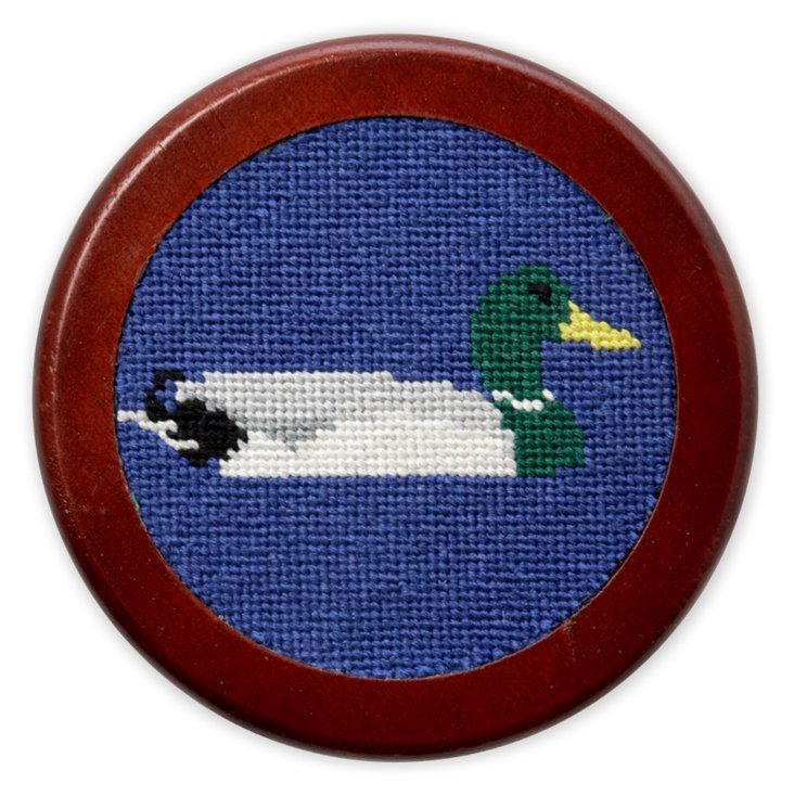S/4 Ducks Blue Needlepoint Coasters