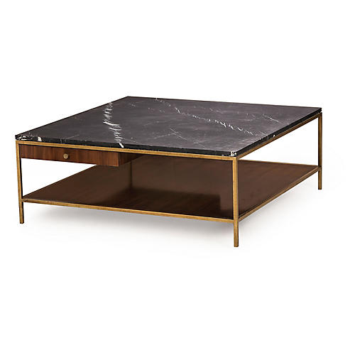 Copeland Square Coffee Table, Black/Brass
