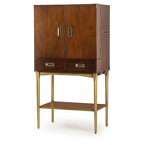Durham Bar Cabinet, Walnut/Brass