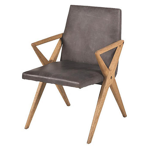 Cosmopolitan Armchair, Distressed Black Leather