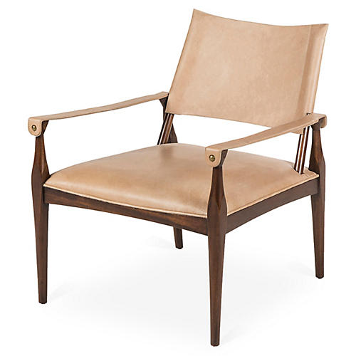 Durham Armchair, Beige Leather