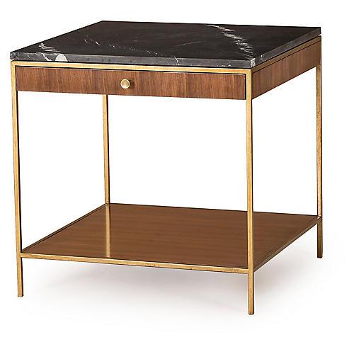 Copeland Side Table, Walnut/Brass