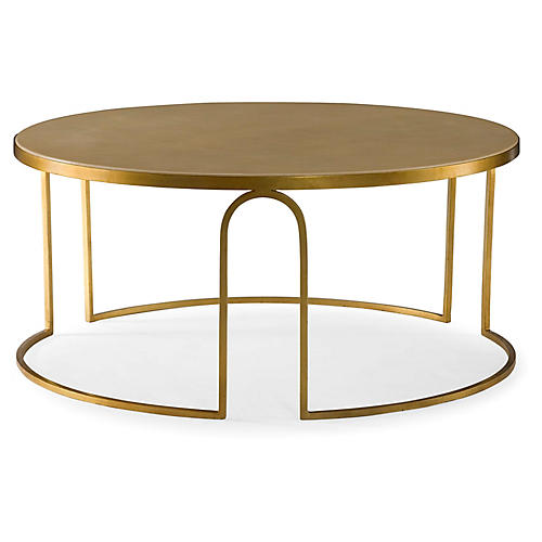 Erica Round Coffee Table, Gold