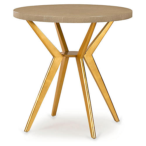 Hines Round Side Table, Beige