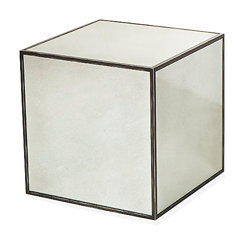 Fleet Cube Side Table, Mirrored