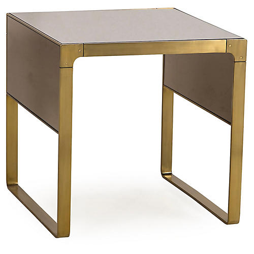 Evans Side Table, Tan/Brass