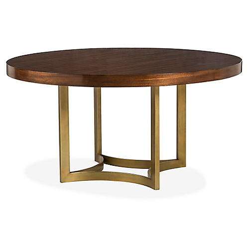 Ashton Round Dining Table, Java/Brass