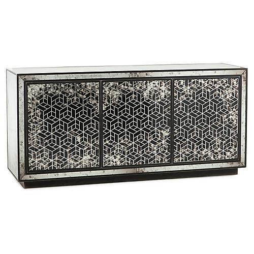 Athena Sideboard, Silver/Black