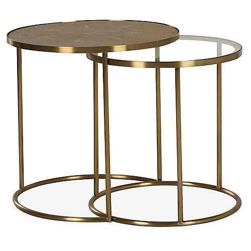 Asst. of 2 Ringo Nesting Tables, Beige/Brass