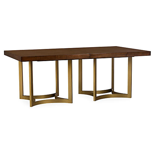 Ashton Rectangle Dining Table, Java/Brass
