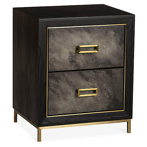 Levi 2-Drawer Nightstand, Gray/Black