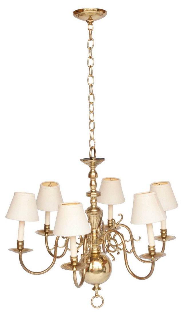 Brass 6-Light Chandelier