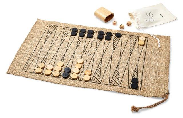 Burlap Roll-Up Backgammon Set, Brown