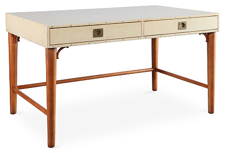 Leather-Wrapped Desk, Cream