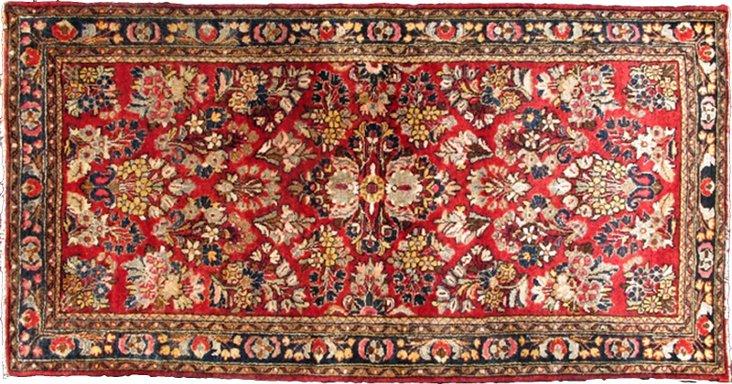 """Antique Persian Sarouk, 4'10"""" x 2'7"""""""