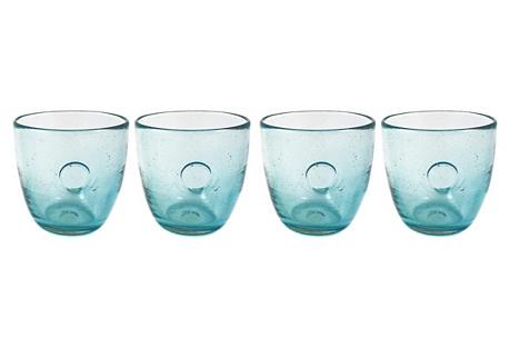S/4 Roly Wineglasses, Aqua Eye
