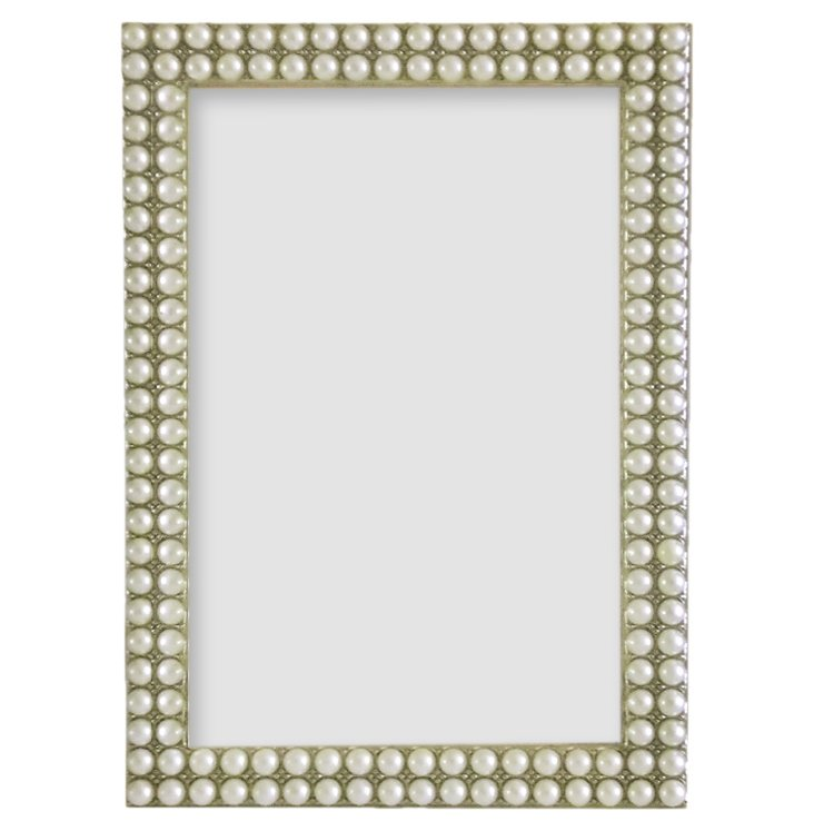 More Pearls Frame, 5x7, White
