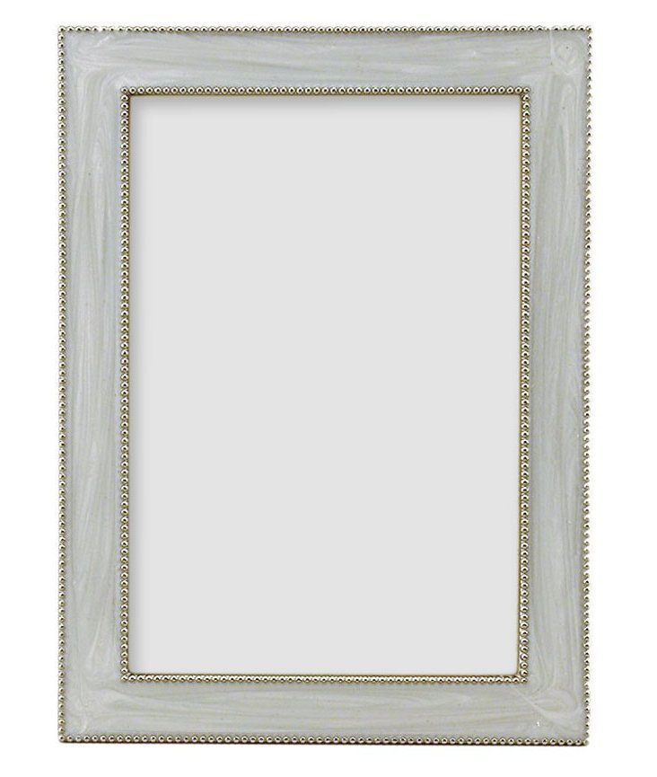 Beaded Frame, 5x7, White
