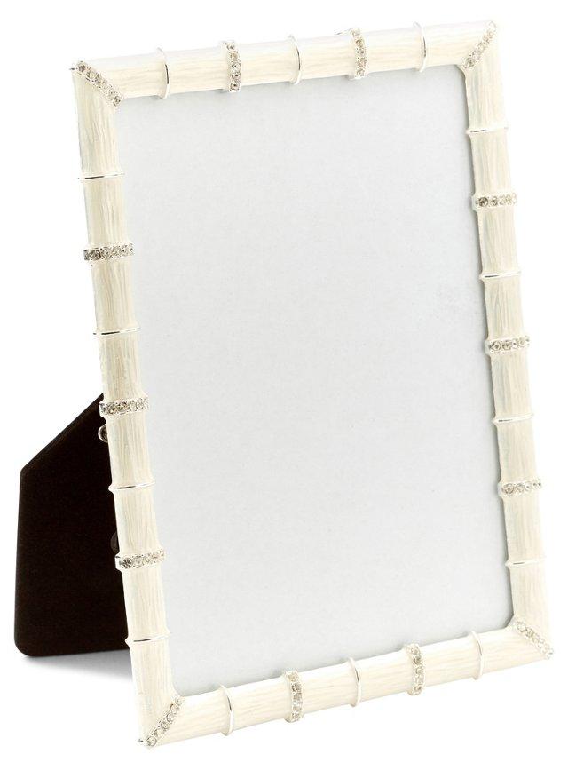 Bamboo Jeweled Frame, 5x7, White